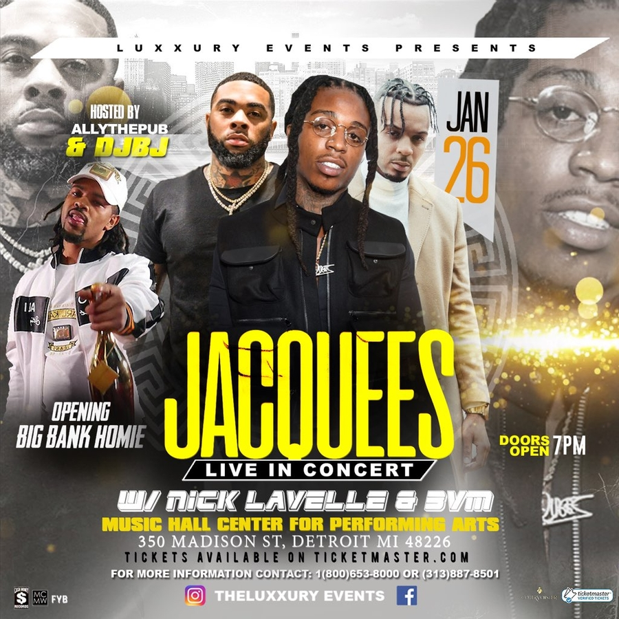 Rapper Big Bank Homie Opens up at the Live Concert Headlining Jacquees in Detroit Michigan January 26th