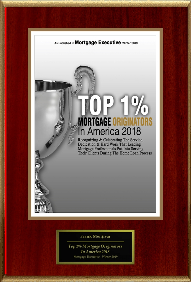 "Frank Menjivar Selected For ""Top 1% Mortgage Originators In America 2018"""