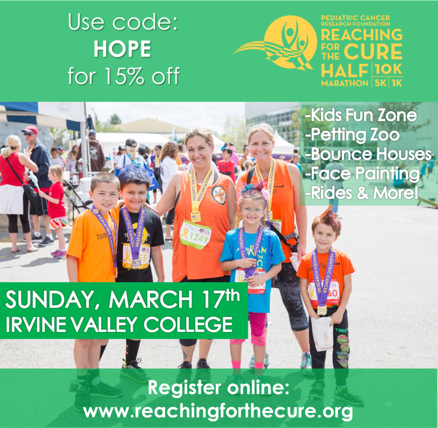 Pediatric Cancer Research Foundation's Reaching For The Cure Half Marathon, 10K, 5K Kids Run Returns To Irvine On Sunday, March 17, 2019