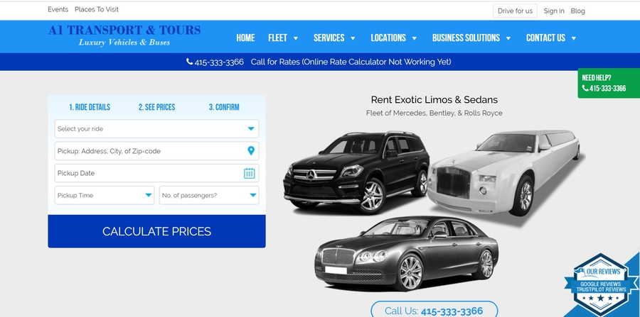 Renovated Online Booking Limo & Bus Website for San Francisco