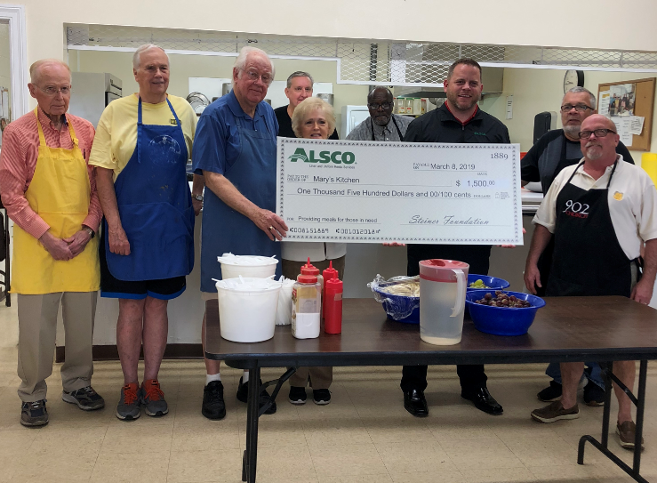 Alsco Kinston Donates to Mary's Kitchen