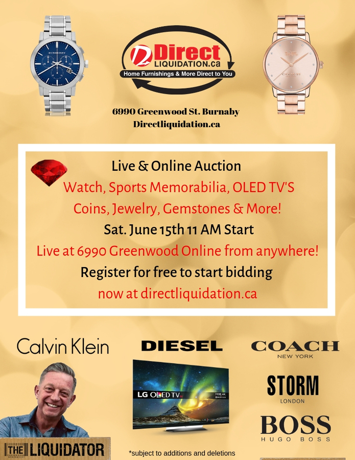 "Worldwide Brand Name Watch & Collectables Auction being held by Jeff Schwarz ""The Liquidator"" Online and Onsite"