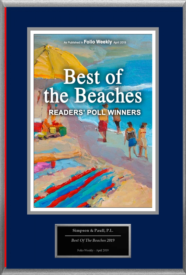 "Simpson & Paull, P.L. Selected For ""Best Of The Beaches 2019"""