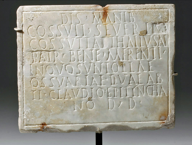 Rare Ancient Funerary Plaque with Corrections Goes to Auction: First-Century Roman Memorial Tablet featured in Christie's Antiquities Sale
