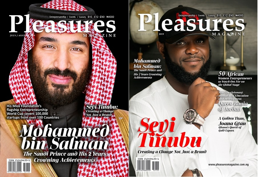 Crown Prince Mohammed Bin Salman Of Saudi And Nigerian Entrepreneur Seyi Tinubu Covers July/August Issue Of Pleasures Magazine