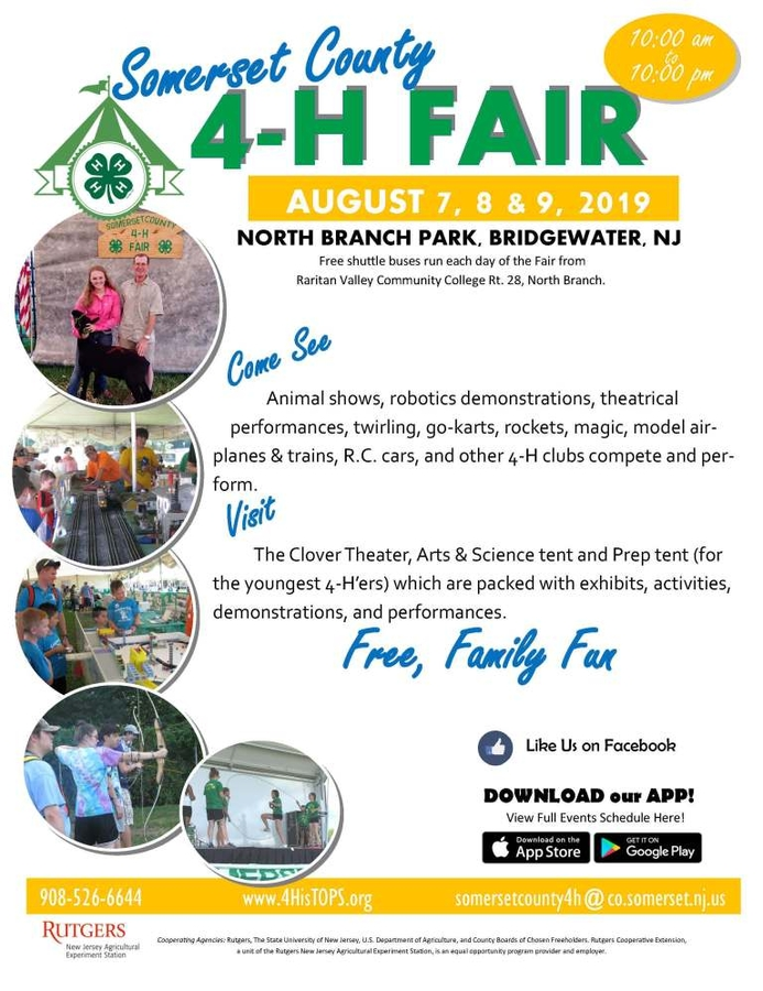 Annual Somerset County 4-H Fair will be Held August 7-9 in Bridgewater, N.J.