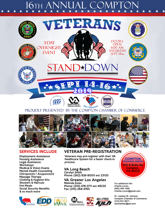 "16th Annual ""Compton Veterans Stand Down"" Event Kicks Off On Saturday, September 14 at 6 A.M."