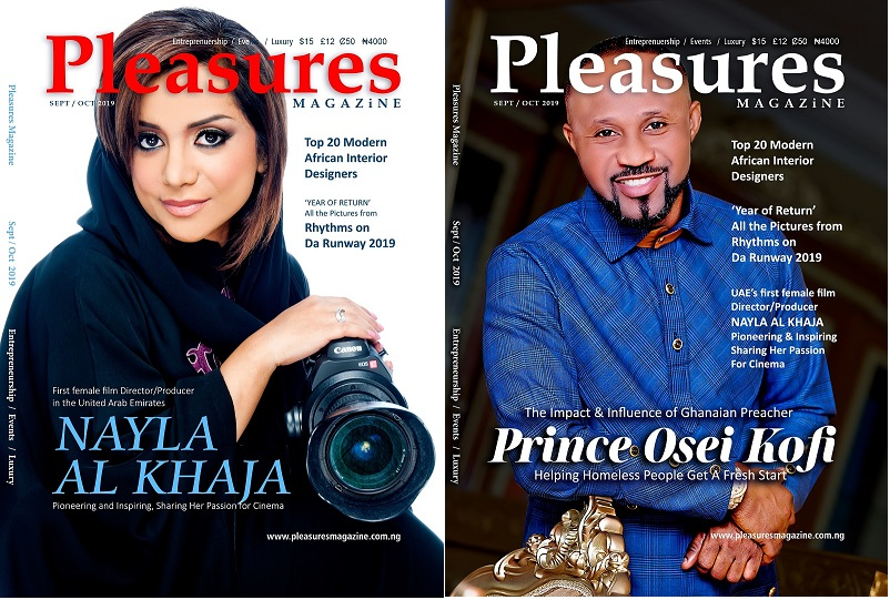 Pastor Prince From Ghana Joins UAE's First Female Film Director To Cover Pleasures Magazine Sept/Oct 2019 Issue
