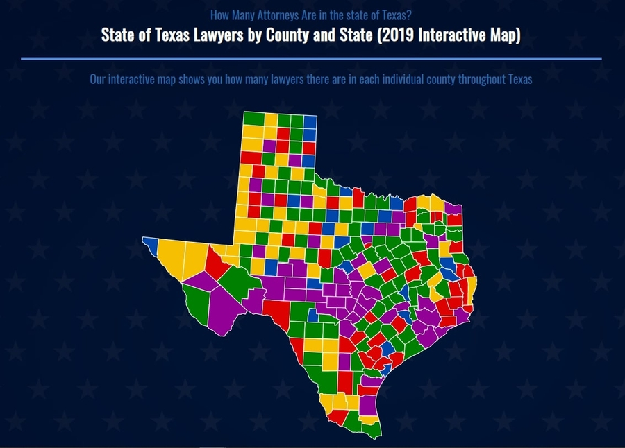 State Bar Of Texas Reveals Attorney Population Density By Counties
