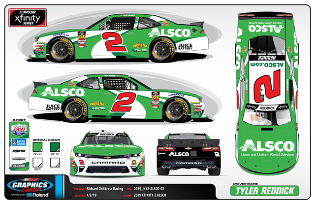 Alsco Provides Primary Sponsorship of Tyler Reddick for Nascar Xfinity Series O'Reilly Auto Parts 300 at Texas Motor Speedway