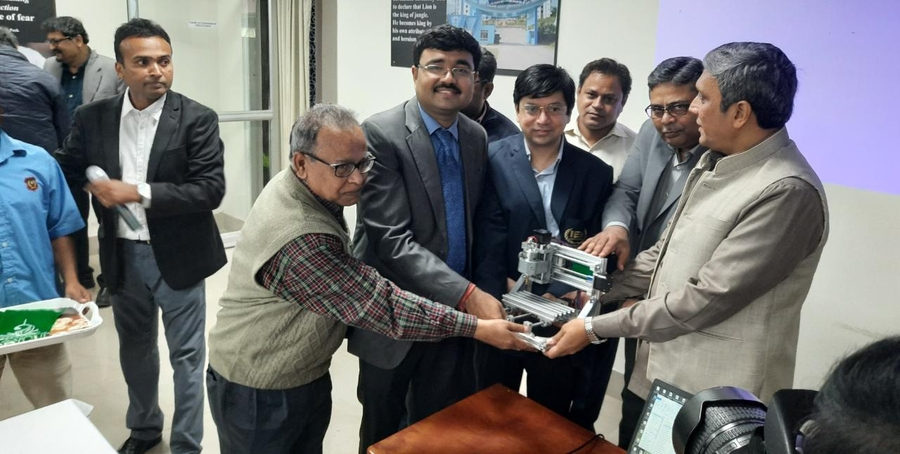 IEM-UEM group handed over the PCB Maker Machine (a mini-CNC, Designed in the Innovation Laboratory by the Researchers of IEM-UEM group) to MAKAUT) on 16th January 2020