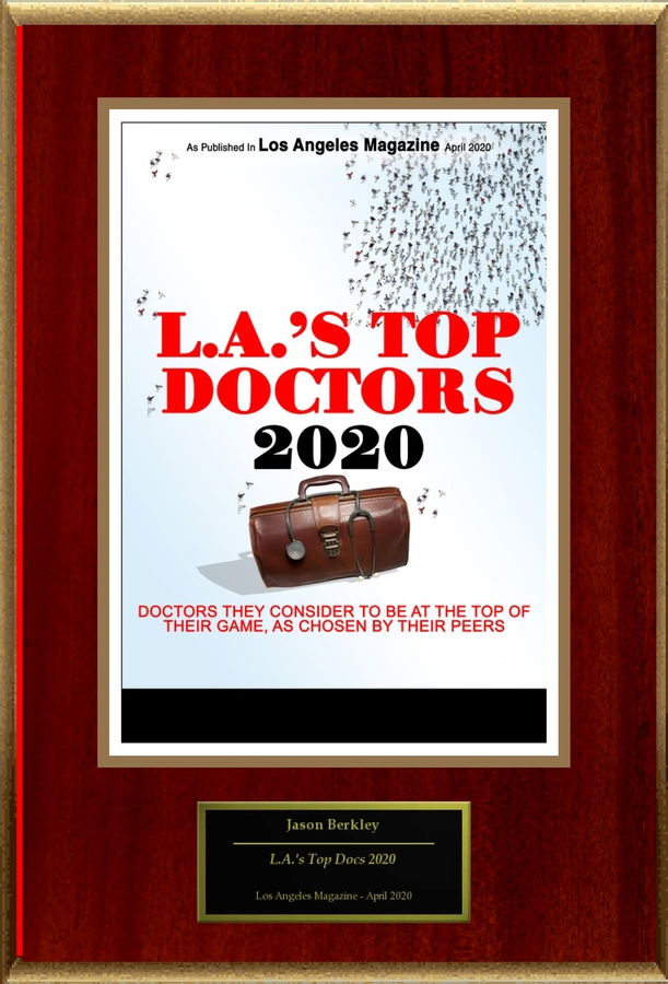 "Jason Berkley, DO Selected For ""L.A.'s Top Docs 2020"""