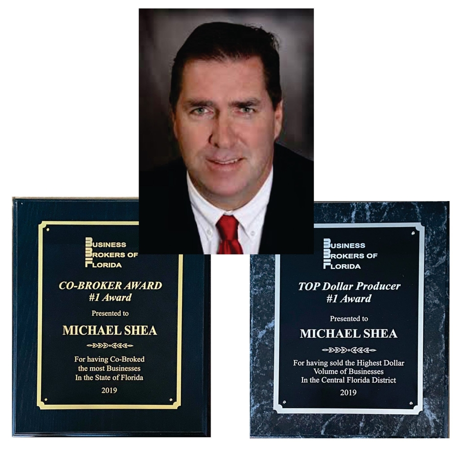 Orlando Business Broker Michael Shea Awarded Top Broker Honors for Deal Volume and Co-Brokering by the Business Brokers of Florida