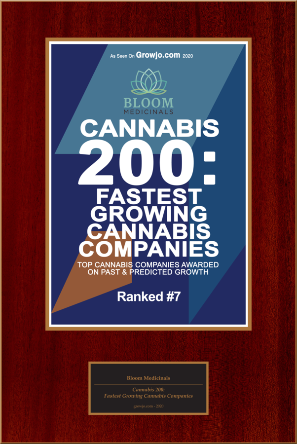 "Bloom Medicinals Selected For ""Cannabis 200: Top 10-Fastest Growing Cannabis Companies"""