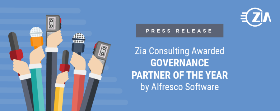 "Zia Consulting Awarded ""Governance Partner of the Year"" by Alfresco Software"