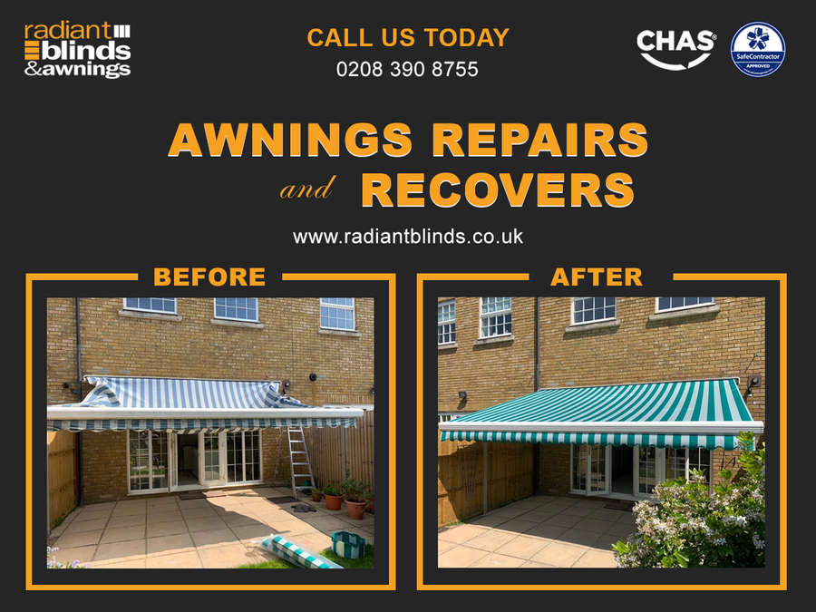 Radiant Blinds Ltd offers Canopy or Awning Repairs and Recovery Service
