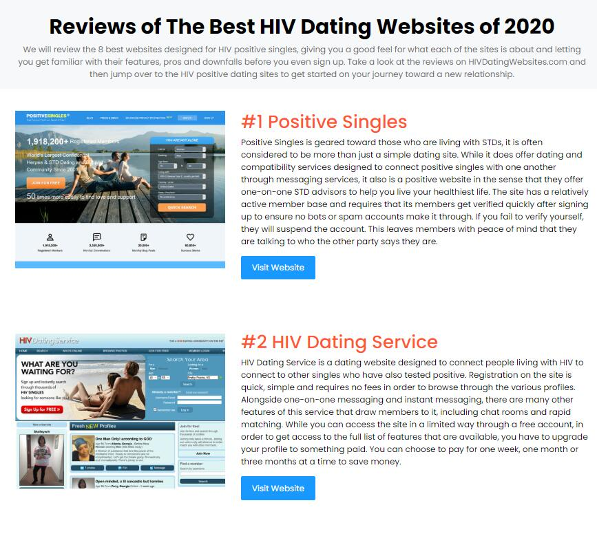 HIVDatingWebsites.com Announces Launch Sharing a Look at the top HIV Dating Sites Active Today