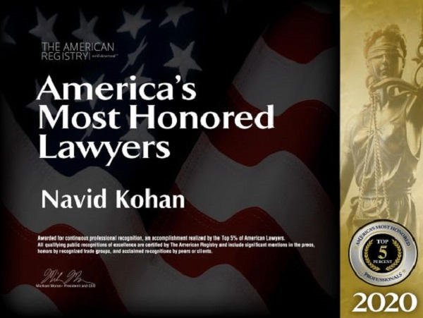 Los Angeles Bankruptcy and Personal Injury Attorney Navid Kohan Nationally Recognized As Top 5% of America's Most Honored Lawyers