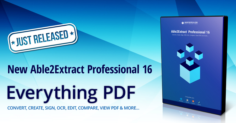 Investintech.com Launches Able2Extract Professional 16