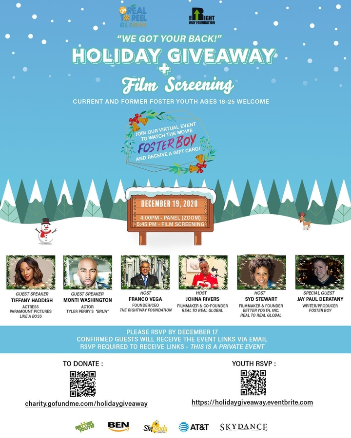 Real To Reel Global Annual Holiday Giveaway & Private Film Screening To Support Foster Youth Powered By Better Youth & The RightWay Foundation — Actors Tiffany Haddish & Monti Washington Join Event