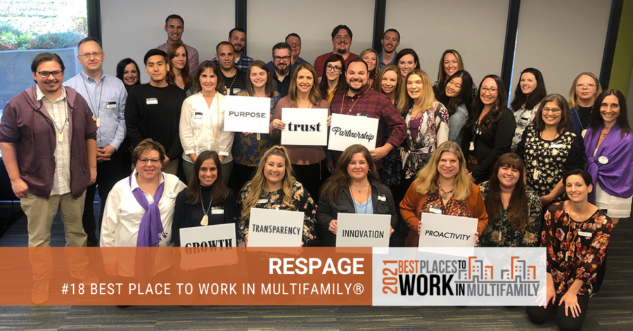 Respage® Ranked #18 Nationally in the Best Places to Work Multifamily®
