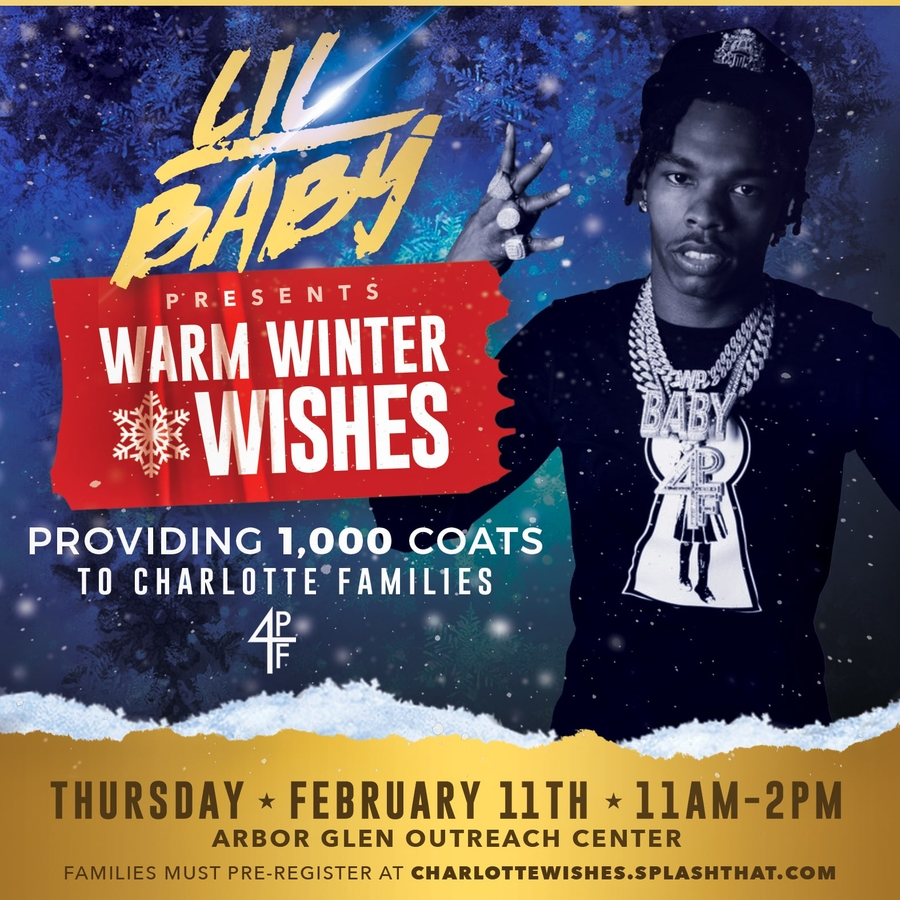 Grammy Nominated Rapper Lil Baby Brings Warm Winter Wishes Coat Drive to Charlotte North Carolina Families