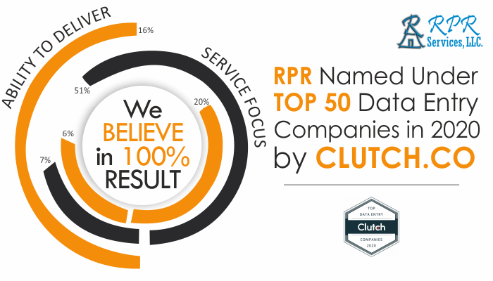 RPR Services, LLC. Named Under Top 50 Data Entry Companies in 2020 by Clutch.co