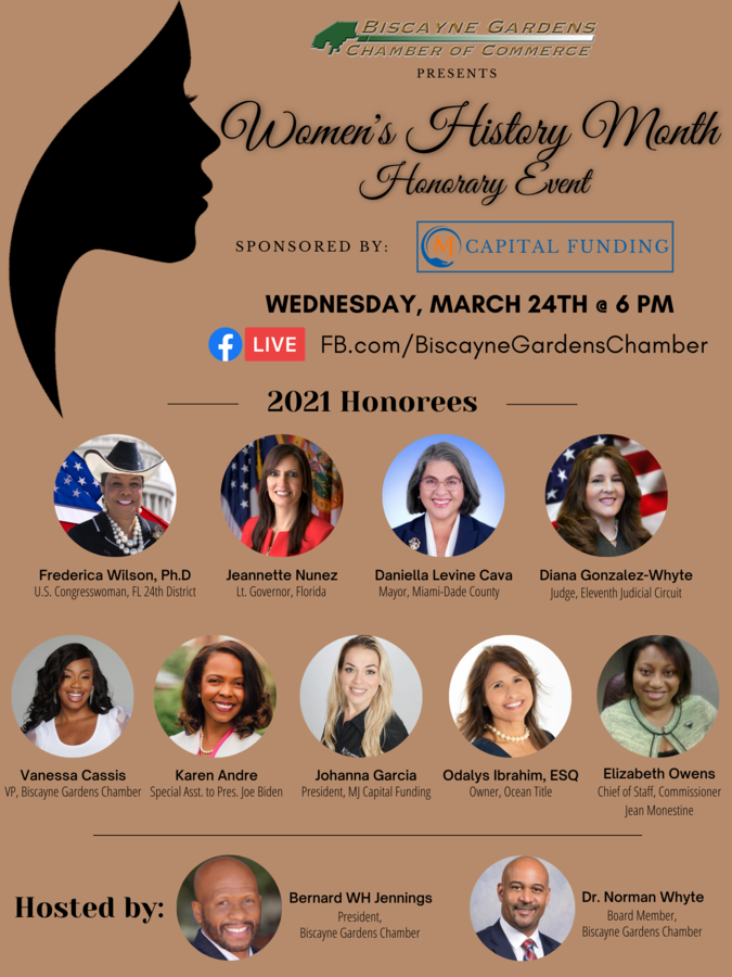 "The Biscayne Gardens Chamber Presents the ""MJ Capital Funding Women's History Month Award Honoree's Event"" – Honoring Female Community Leaders"