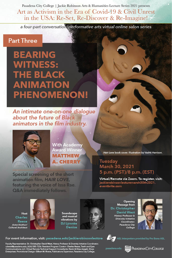 Matthew Cherry Joins the Jackie Robinson Arts & Humanities Lecture Series for Special Screening & Discussion On the Future of Black Animators In Hollywood