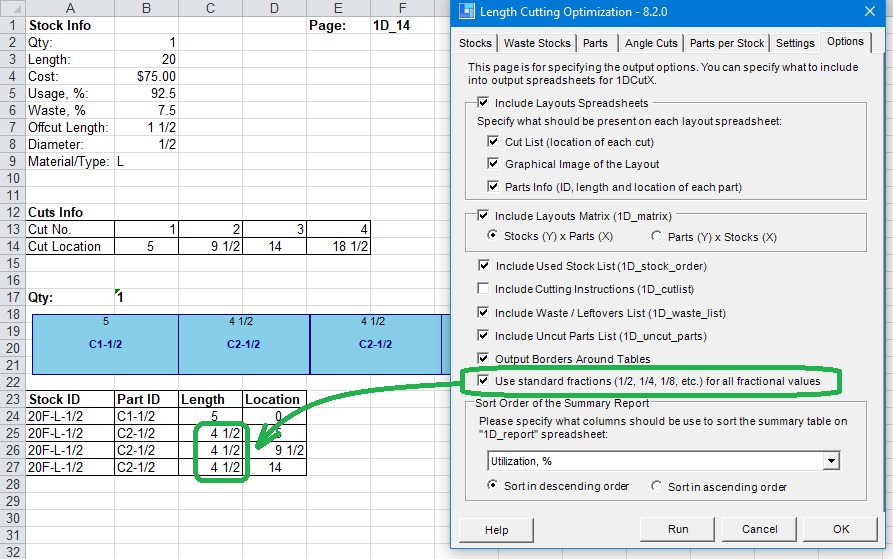 Optimalon Software Adds Standard Fraction Support in Linear Material Cut Optimization Add-in 1DCutX