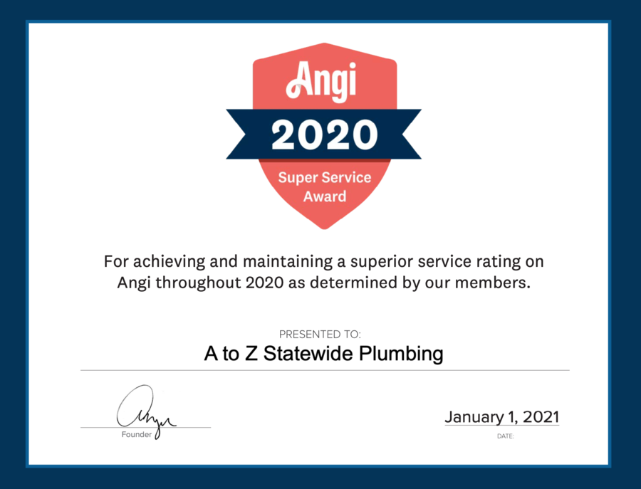 A to Z Statewide Plumbing Earns 2020 Angi Super Service Award