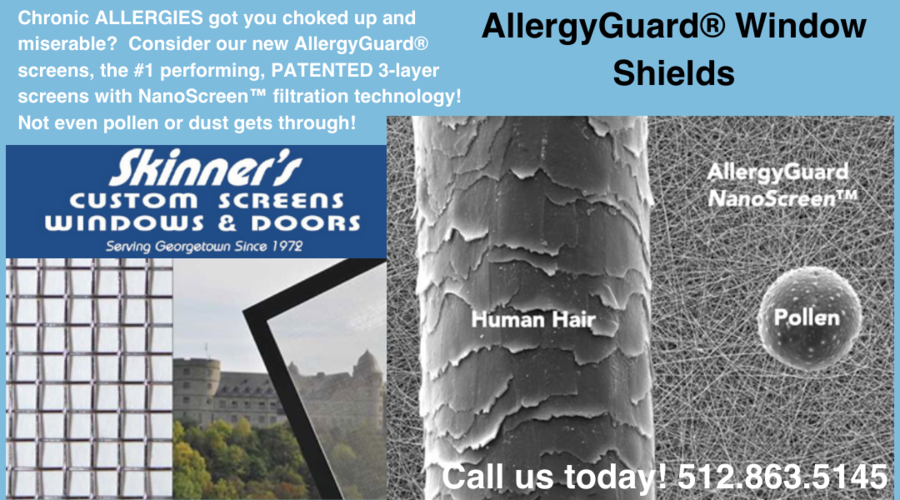 Central Texans Can Ward Off Outdoor Allergen Exposure Thanks to BMT AllergyGuard® Window Shields.