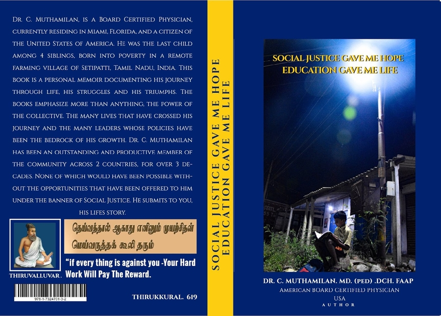 """Muthamilan Chinnairusan Announces the Release of His Book """"Social Justice Gave Me Hope – Education Gave Me Life."""""""