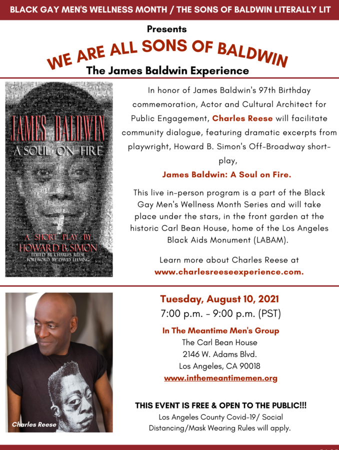 Actor/Cultural Architect Charles Reese Returns to His Literary Salons on James Baldwin at the Historic Carl Bean House in Los Angeles