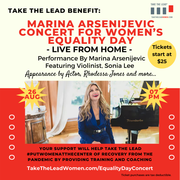 """Take the Lead to Host Women's Equality Day """"Put Women at the Center of the Recovery"""" Benefit Concert"""