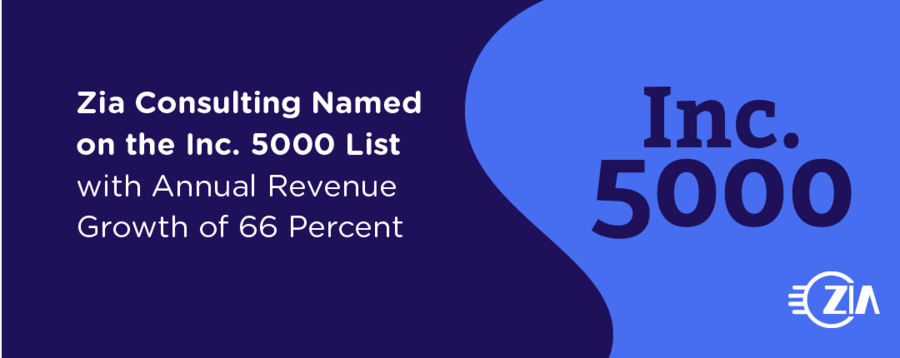 Zia Consulting Named on the Inc. 5000 List with Annual Revenue Growth of 66 Percent