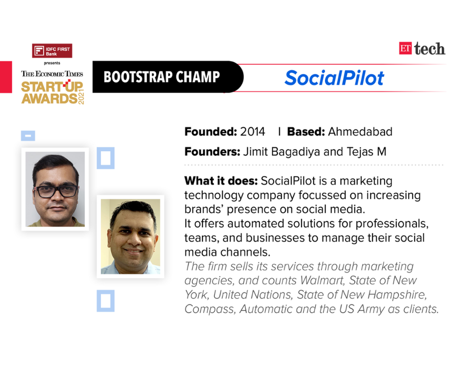 SocialPilot Nominated for the Bootstrap Champ by ET Startup Awards 2021