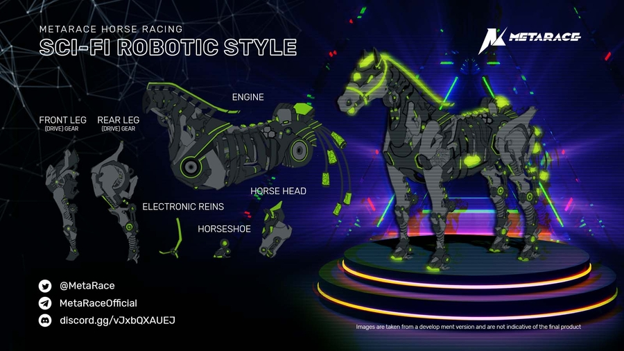 Metaverse NFT Game – MetaRace Sci-Fi Robotic-Horses Design Revealed: A Combination of Industrial Aesthetics and NFT