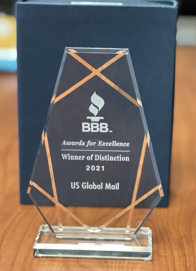 "US Global Mail Wins 2021 ""Winner Of Distinction Award"""
